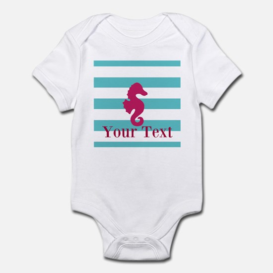 Personalizable Teal Eggplant Sea Horse Body Suit