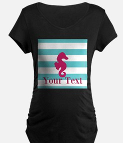 Personalizable Teal Eggplant Sea Horse Maternity T