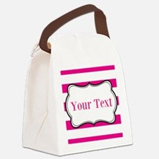 Personalizable Hot Pink and White Canvas Lunch Bag