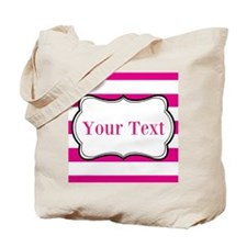 Personalizable Hot Pink and White Tote Bag