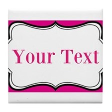 Personalizable Hot Pink and White Tile Coaster