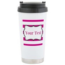 Personalizable Hot Pink and White Travel Mug