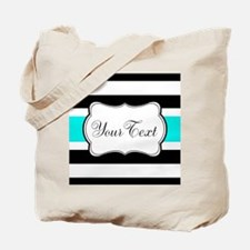 Personalizable Teal Black White Stripes Tote Bag