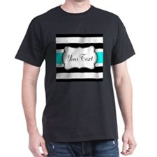 Personalizable Teal Black White Stripes T-Shirt