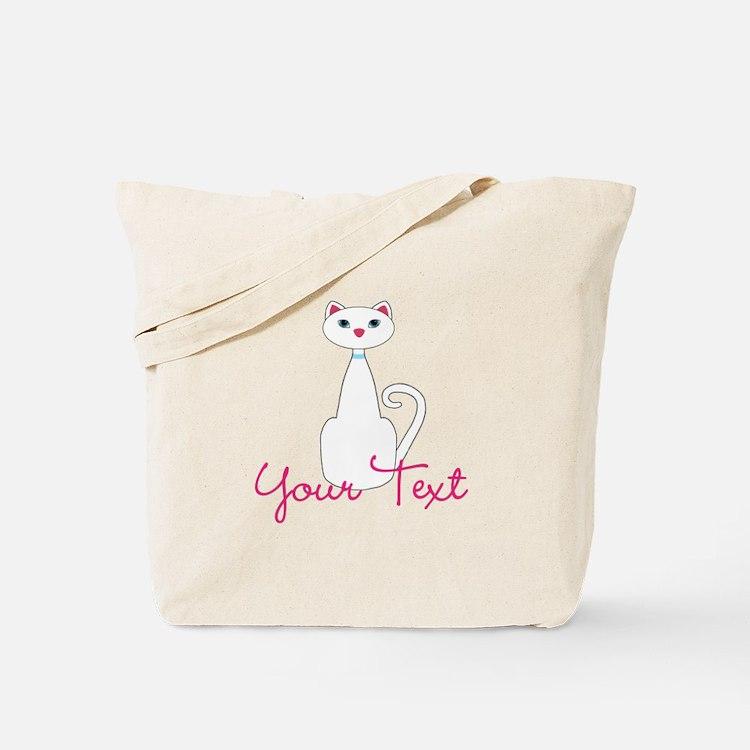 Personalizable White Cat Tote Bag