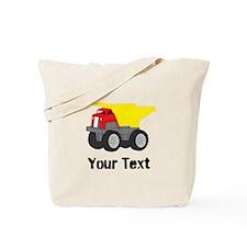 Personalizable Red Yellow Dump Truck Tote Bag