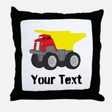 Personalizable Red Yellow Dump Truck Throw Pillow