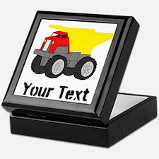 Personalizable Red Yellow Dump Truck Keepsake Box