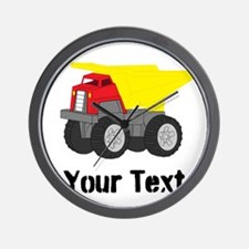 Personalizable Red Yellow Dump Truck Wall Clock