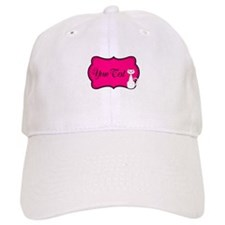 Personalizable White Cat on Hot Pink Baseball Baseball Cap