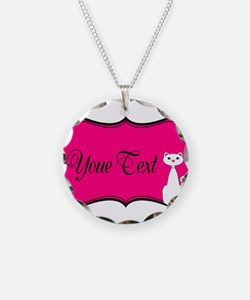 Personalizable White Cat on Hot Pink Necklace
