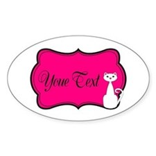 Personalizable White Cat on Hot Pink Decal