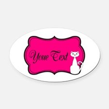 Personalizable White Cat on Hot Pink Oval Car Magn