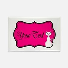Personalizable White Cat on Hot Pink Magnets