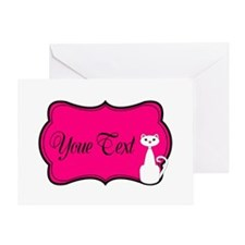 Personalizable White Cat on Hot Pink Greeting Card