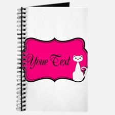 Personalizable White Cat on Hot Pink Journal