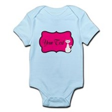 Personalizable White Cat on Hot Pink Body Suit