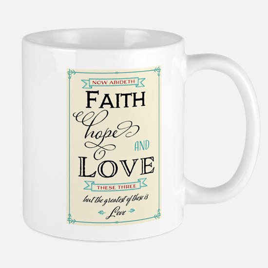 Faith Hope and Love in Red and Turquoise Mugs