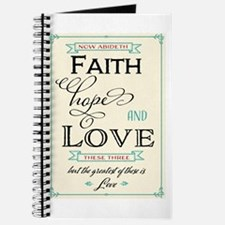 Faith Hope and Love in Red and Turquoise Journal
