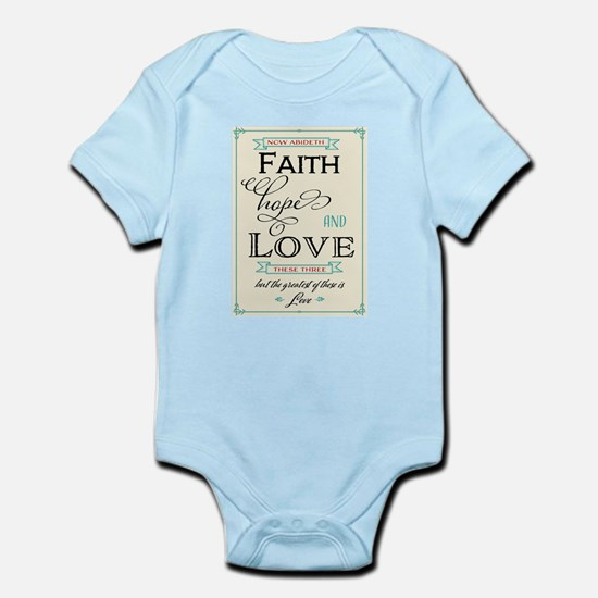 Faith Hope and Love in Red and Turquoise Body Suit