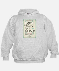 Faith Hope and Love in Red and Turquoi Hoodie