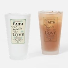 Faith Hope and Love in Red and Turq Drinking Glass