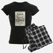 Faith Hope and Love in Red a Pajamas