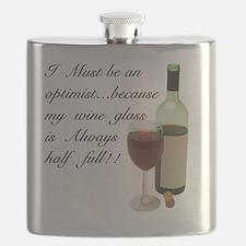 Wine Glass Half Full Optimist Flask