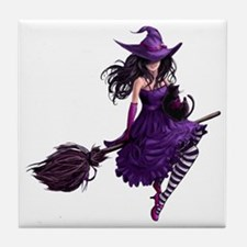 Sexy Purple Halloween Witch Tile Coaster
