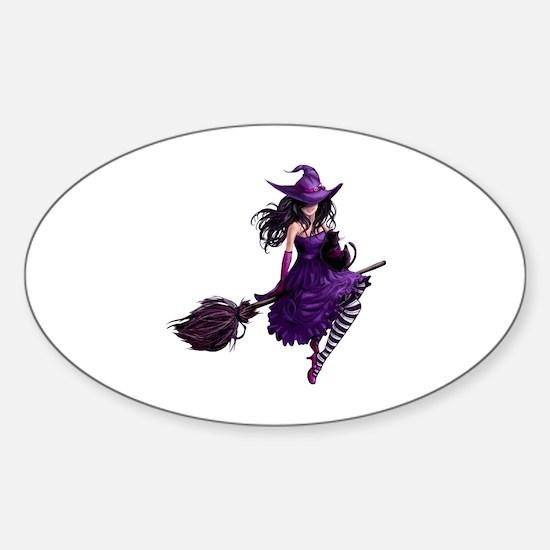 Sexy Purple Halloween Witch Sticker (Oval)