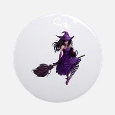 Sexy Purple Halloween Witch Round Ornament