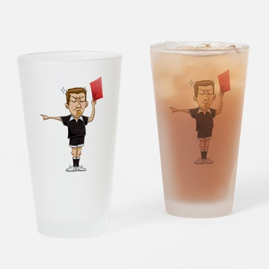 Soccer Referee Holds Red Card Drinking Glass