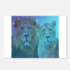 lion couple in blue starr Postcards (Package of 8)