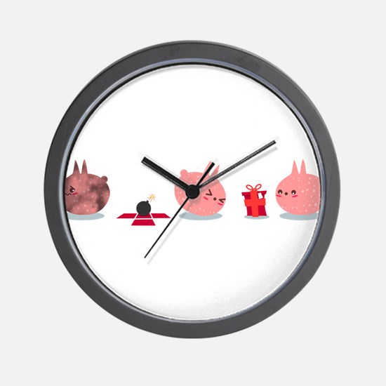 Pink Creature Gets A Bomb As Present Wall Clock