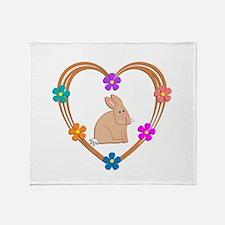 Rabbit Heart Throw Blanket