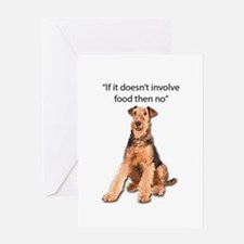 Greedy Airedale in it for the Food Greeting Cards