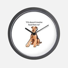 Greedy Airedale in it for the Food Wall Clock