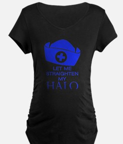 Let Me Straighten My Halo - Blue Maternity T-Shirt