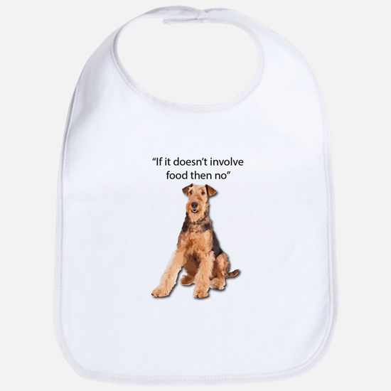 Greedy Airedale in it for the Food Bib