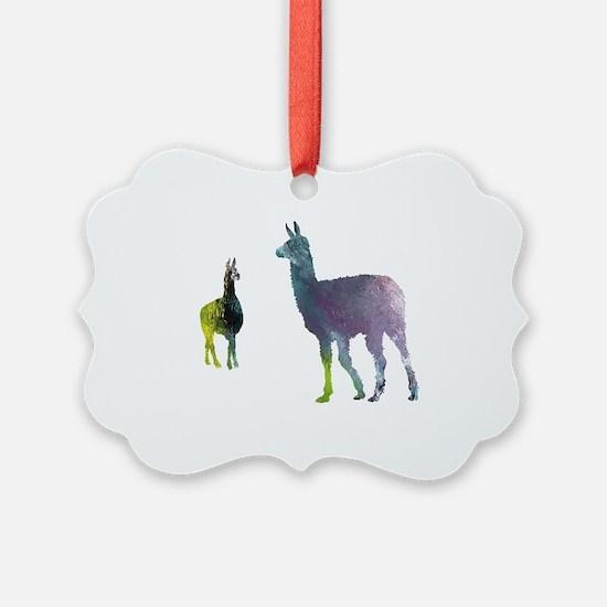 Cute Llama art Ornament