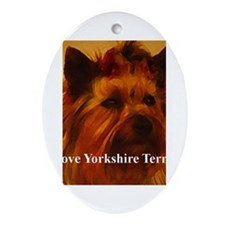 luv york terrier Oval Ornament