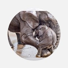 Cute Mother and elephant Round Ornament