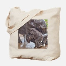 BABY ELEPHANT BATH TIME WITH MOTHER Tote Bag
