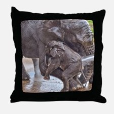 BABY ELEPHANT BATH TIME WITH MOTHER Throw Pillow