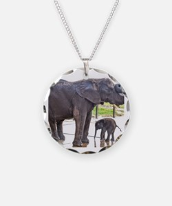 BATH TIME FOR BABY ELEPHANT Necklace
