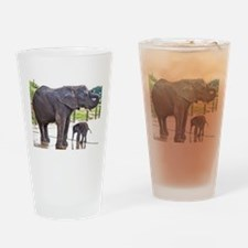 BATH TIME FOR BABY ELEPHANT AND MOT Drinking Glass