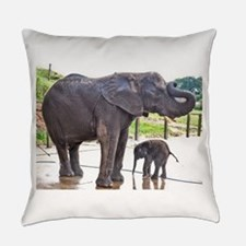 BATH TIME FOR BABY ELEPHANT AND MO Everyday Pillow