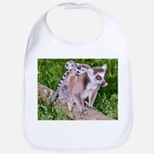 RING TAILED LEMUR MOTHER AND BABIES Bib