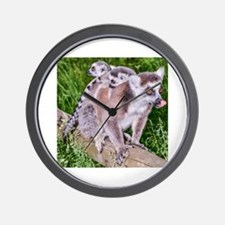 RING TAILED LEMUR MOTHER AND BABIES Wall Clock