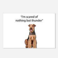 Tough Airedale is Scared Postcards (Package of 8)